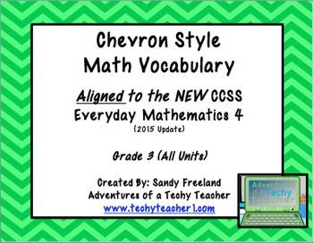 Chevron 3rd Grade Math Vocabulary New Everyday Math 4