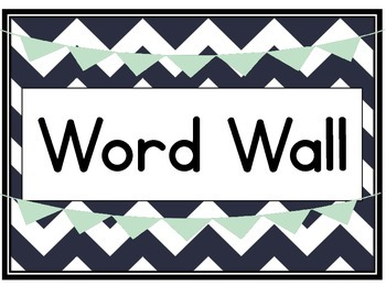 Chevron 3rd Grade Word Wall Printables