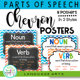 Grammar: Parts of Speech Posters Chevron Theme Classroom Decor