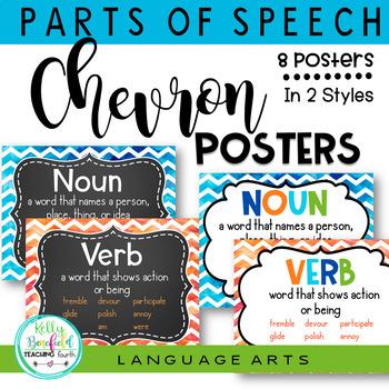 Grammar Posters: Parts of Speech Chevron Theme Classroom Decor