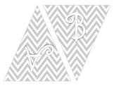 Chevron A-Z 0-9 Grey Banner Printables