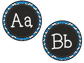 Chevron Chalkboard ABC Labels for Word Walls & Classrooms