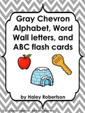 Chevron ABC posters, word wall letters, and ABC flashcards (GRAY)