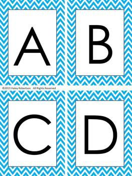 Chevron ABC posters, word wall letters, and ABC flashcards (BLUE)