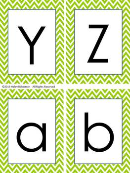Chevron ABC posters, word wall letters, and ABC flashcards (LIME GREEN)