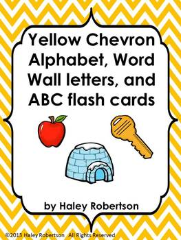 Chevron ABC posters, word wall letters, and ABC flashcards (YELLOW)