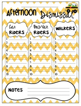 Chevron Afternoon Dismissal Organizer Chart / Printable