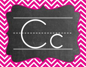 Chevron Alphabet (A-Z) - Hot Pink Color