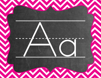 Chevron Alphabet (A-Z) - Hot Pink Color