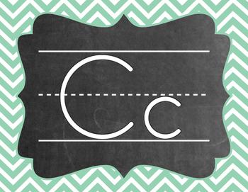 Chevron Alphabet (A-Z) - Teal & Coral Color