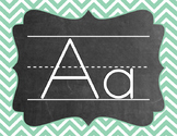 Chevron Alphabet (A-Z) - Teal & Coral Color