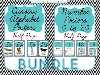 Cursive Alphabet AND Number Posters {Chevron - Half Size/Blue}