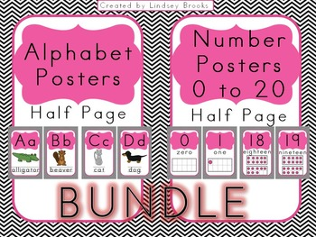 Chevron Alphabet AND Number Posters {Half Size/Pink}