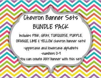 Chevron Alphabet Banner Set Bundle Pack (upper & lowercase, numbers 0-9)