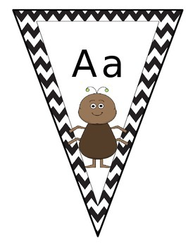 Chevron Alphabet Bunting - Queensland font with exits and entries
