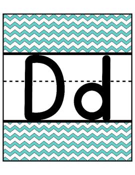 Chevron Alphabet Cards! Large Full Page! Blue