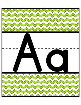 Chevron Alphabet Cards Freebie! Large Full Page! Green