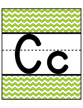 Chevron Alphabet Cards! Large Full Page! Green