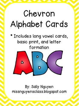 Chevron Alphabet Cards with Long Vowel Patterns