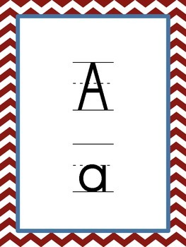 Chevron Alphabet Cards/Posters--Red
