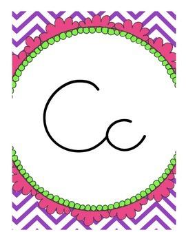 Chevron Alphabet (Cursive)