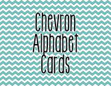 Chevron Alphabet Letter Cards (Blue) - Word Wall, Classroom Decor