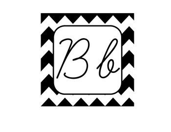 Chevron Alphabet Letter Cards Cursive