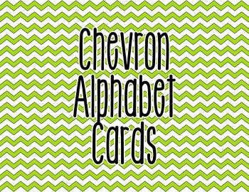 Chevron Alphabet Letter Cards (Green) - Word Wall, Classroom Decor