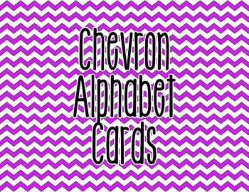 Chevron Alphabet Letter Cards (Purple) - Word Wall, Classroom Decor
