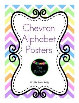Chevron Alphabet Posters in Blue, Yellow, Green, & Orange