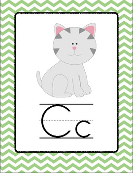 Chevron Alphabet Posters - Green