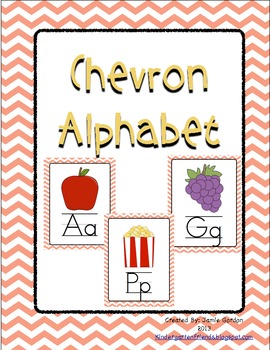Chevron Alphabet Posters - Peach