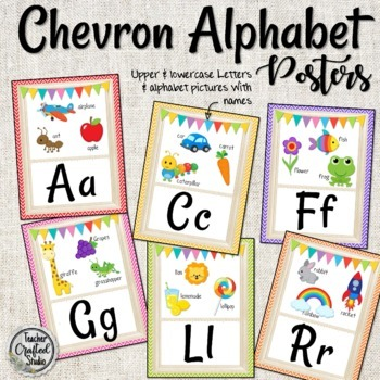 Chevron Alphabet Posters - Pictures and Words