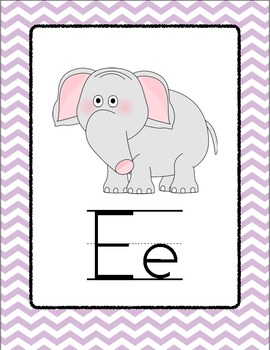 Chevron Alphabet Posters - Purple