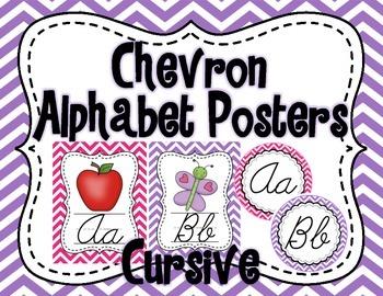Chevron Alphabet Posters Set (Cursive)