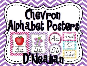 Chevron Alphabet Posters Set (D'Nealian)