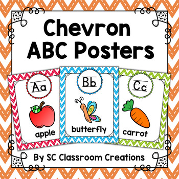 Chevron Alphabet Posters (Stitched Chevron)-Classroom Decor