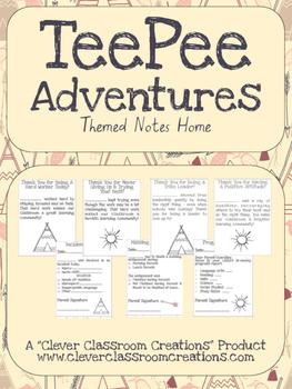 Tee Pee Adventures Communication Notes