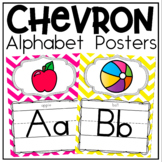 Alphabet Posters and Bunting in Chevron Classroom Decor for Back To School