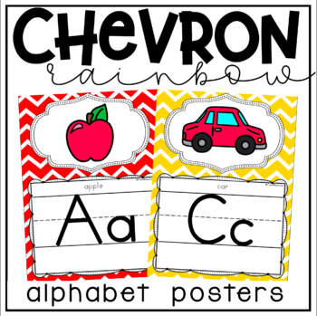 Alphabet Posters and Bunting in a Primary Colors Chevron Classroom Decor Theme