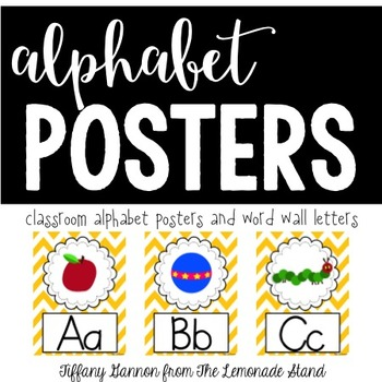 Chevron Alphabet Posters {in Yellow}
