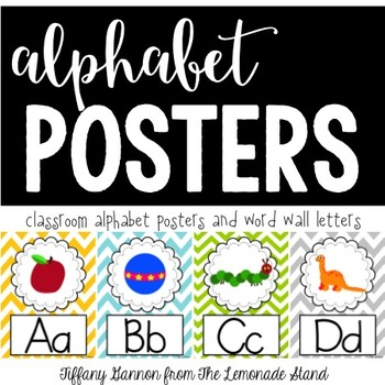 Chevron Alphabet Posters {in Yellow, Turquoise, Green, and Grey}