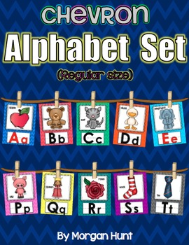 Chevron Alphabet Set (Regular-size) with Word Wall Cards