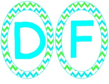 Chevron Alphabet Signs (Green and Blue)