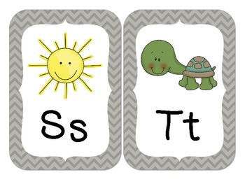 Chevron Alphabet Wall Cards (Gray)