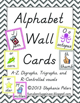 Chevron Alphabet Wall Cards Manuscript~ A-Z, digraphs, trigraphs, r-controlled