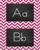 Chevron Alphabet Wall Cards Manuscript & Cursive - Berry Pink & Black