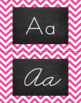 Chevron Alphabet Wall Cards Manuscript & Cursive - Bright Pink & Black