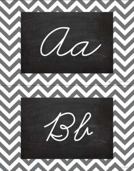Chevron Alphabet Wall Cards Manuscript & Cursive - Gray & Black