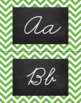 Chevron Alphabet Wall Cards Manuscript & Cursive - Green & Black